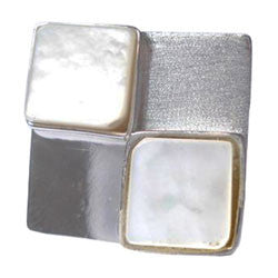 2 LOZENGES MOTHER OF PEARL WITH 2 LOZENGES SILVER RING