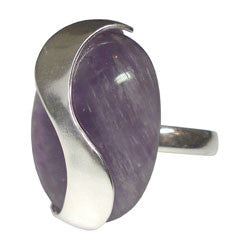 CABOCHON AMETHYST RING WITH DESIGNE ON TOP