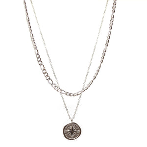 Compass Double Chain (Silver)