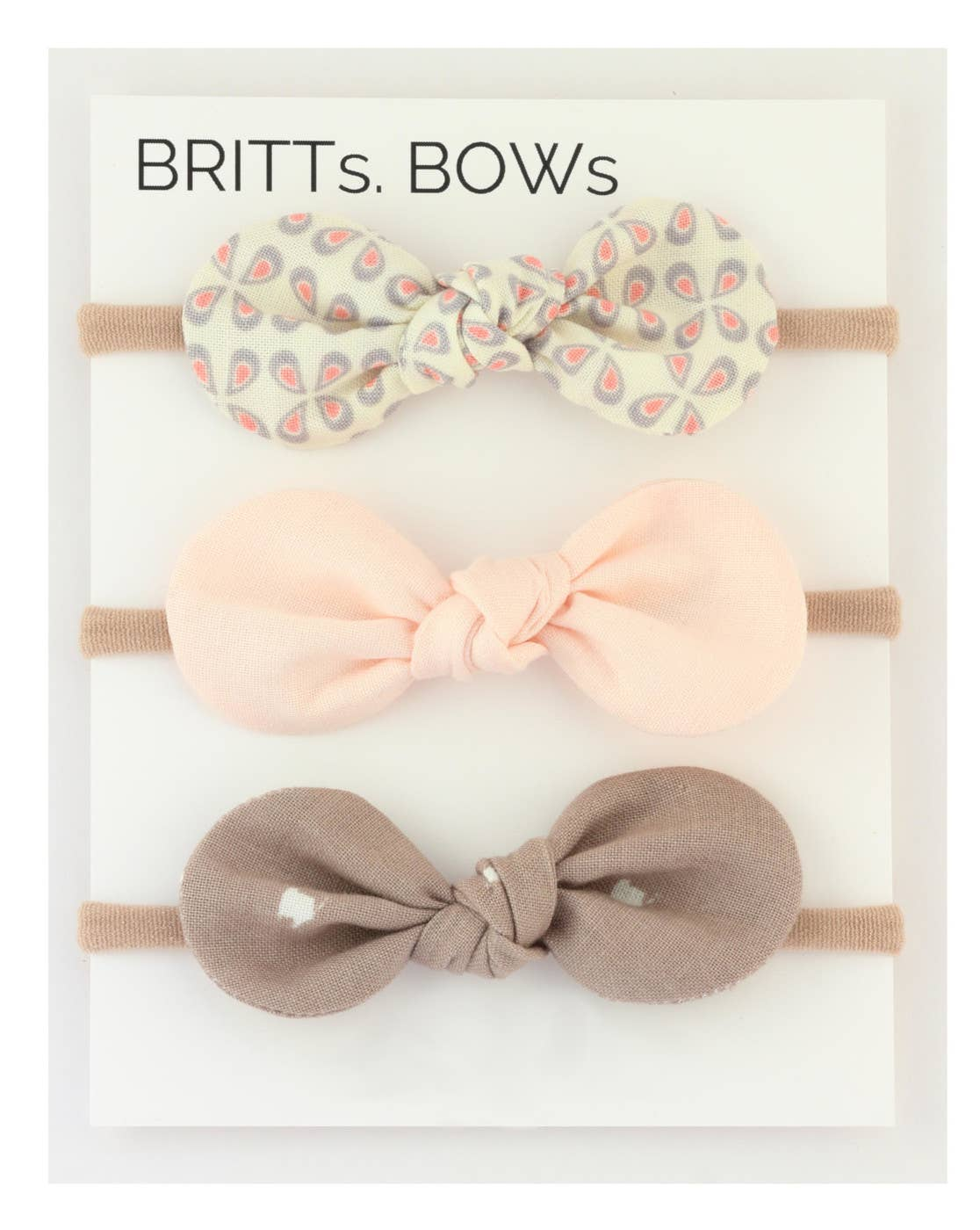 White Dot, Pink, Brown Headband Set of 3
