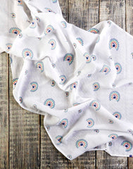GOTS Certified Organic Cotton Muslin Swaddles - peacock