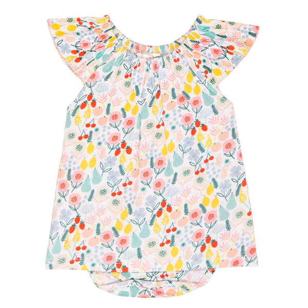 Floral Fruit Flutter Baby Dress-Romper