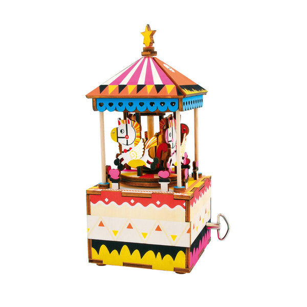 Hands Craft - AM304, DIY 3D Wooden Puzzle Music Box: Merry-Go-Round