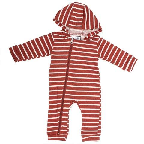 clay/white stripe cuddlesuit