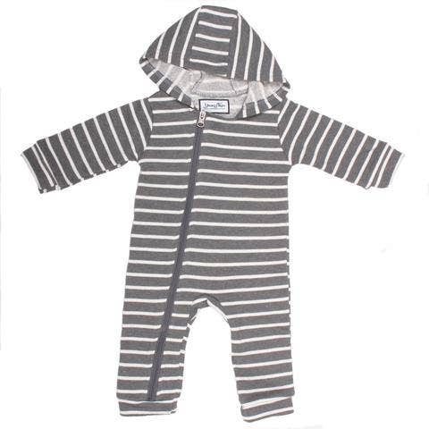 charcoal/white striped cuddlesuit