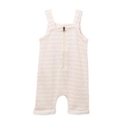pink striped zip short overall