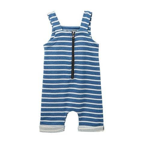 denim blue striped zip short overall