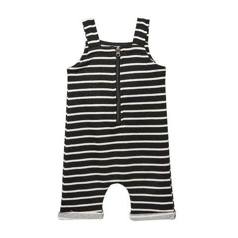 black striped zip short overall