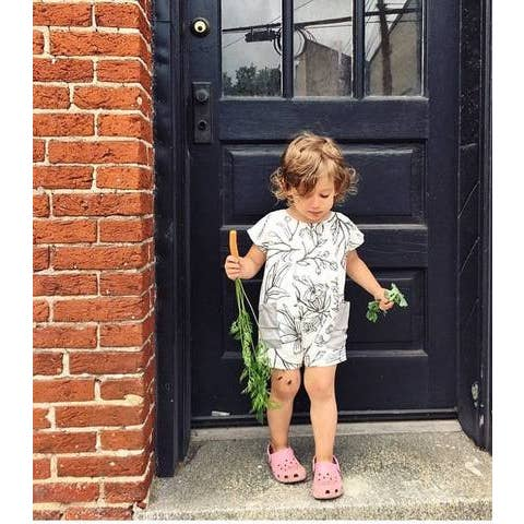 grey flowers short romper