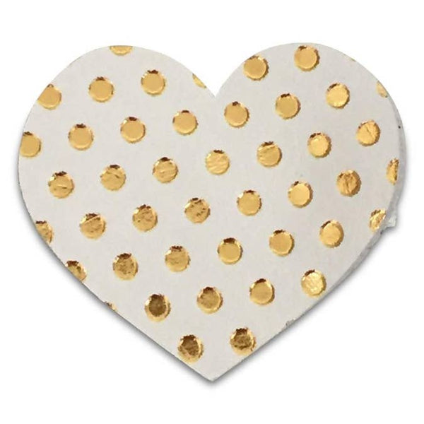 gold dots on white heart headband or clip