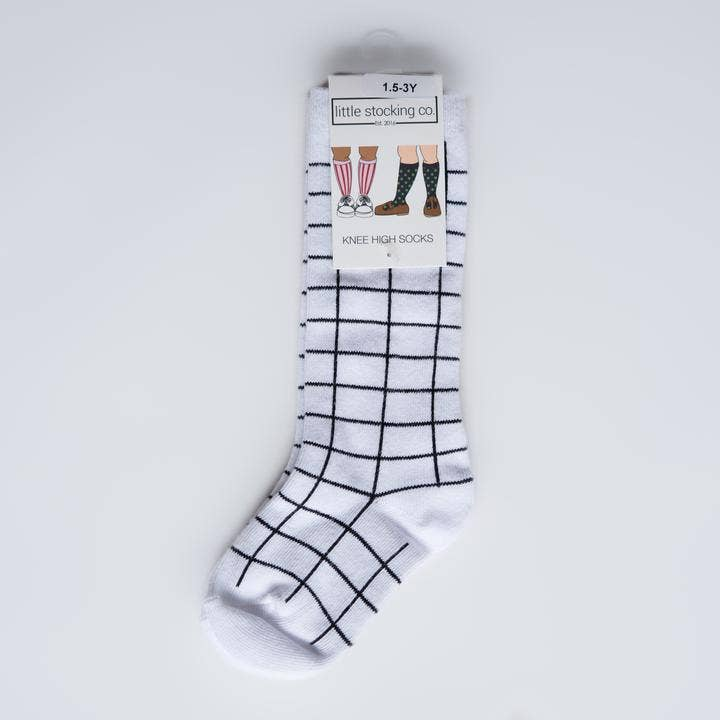 Little Stocking Co. - White and Black Grid Knee Highs