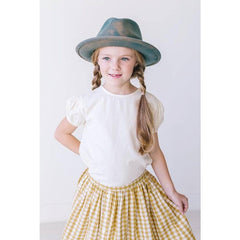 cotton gingham button front skirt