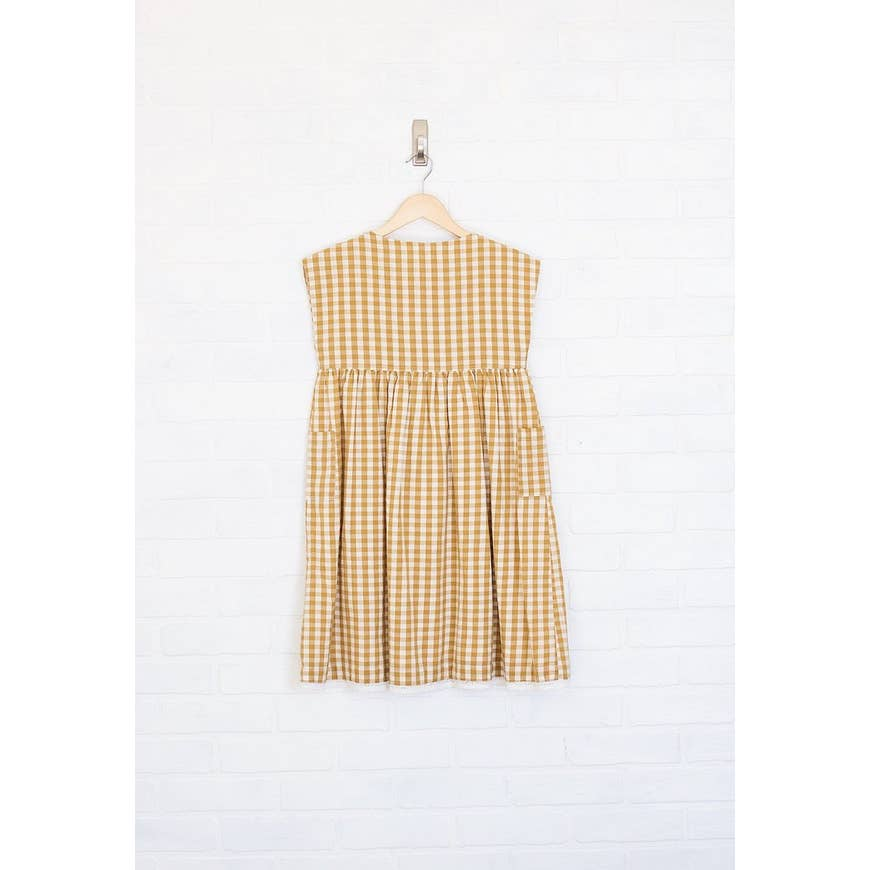 mommy and me cotton gingham button shoulder pocket dress