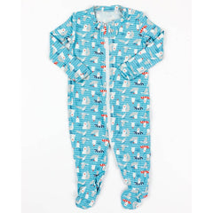 blue seagulls zip-up footed romper