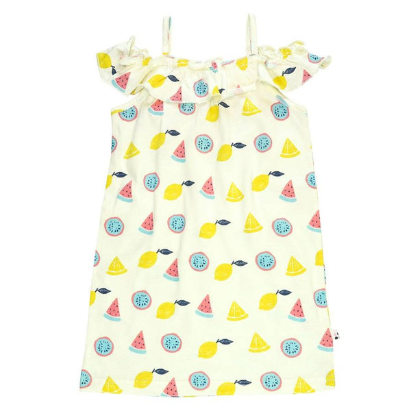 organic fruits ruffle shoulder dress- last one! 2T