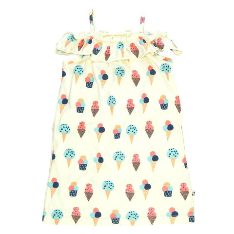 ice cream ruffle shoulder dress
