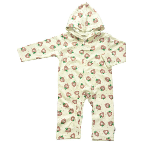 Organic Strawberry Hooded Zipper Romper