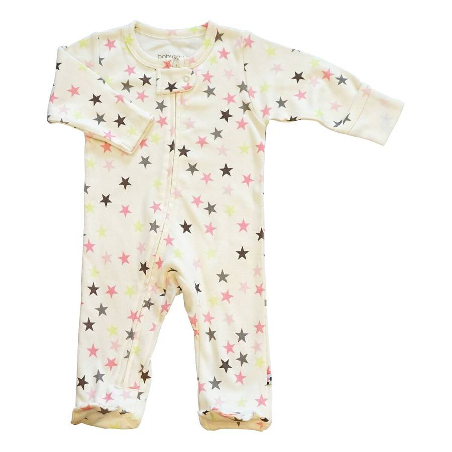 pink stars zipper footie
