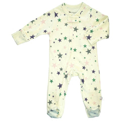 Organic Pink/Grey Star Zipper Footie