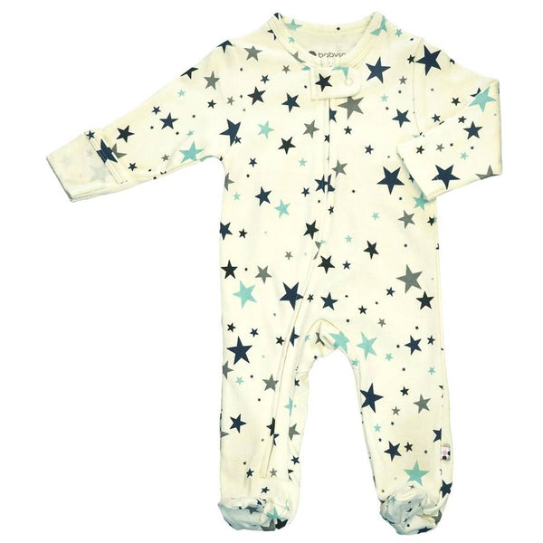 organic blue stars zipper footie