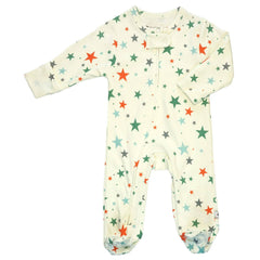 Organic Red/Green Star Zipper Footie