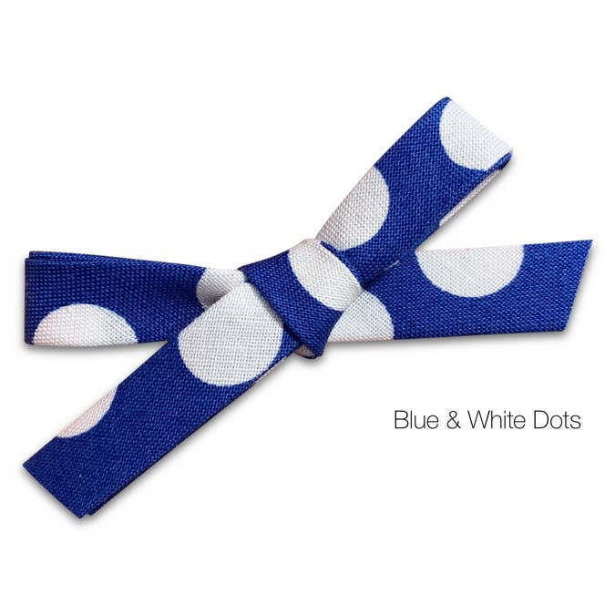 blue and white dots bow baby headband
