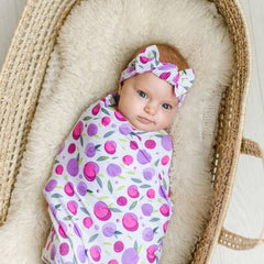 Plums Bamboo Swaddle & Knotted Hat Gift Set