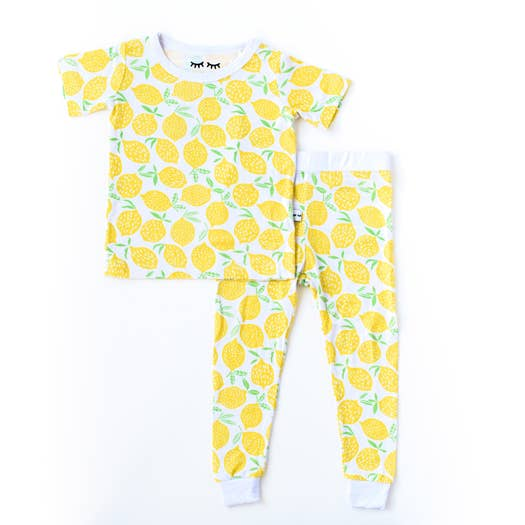 lemons 2 pc bamboo pajama set
