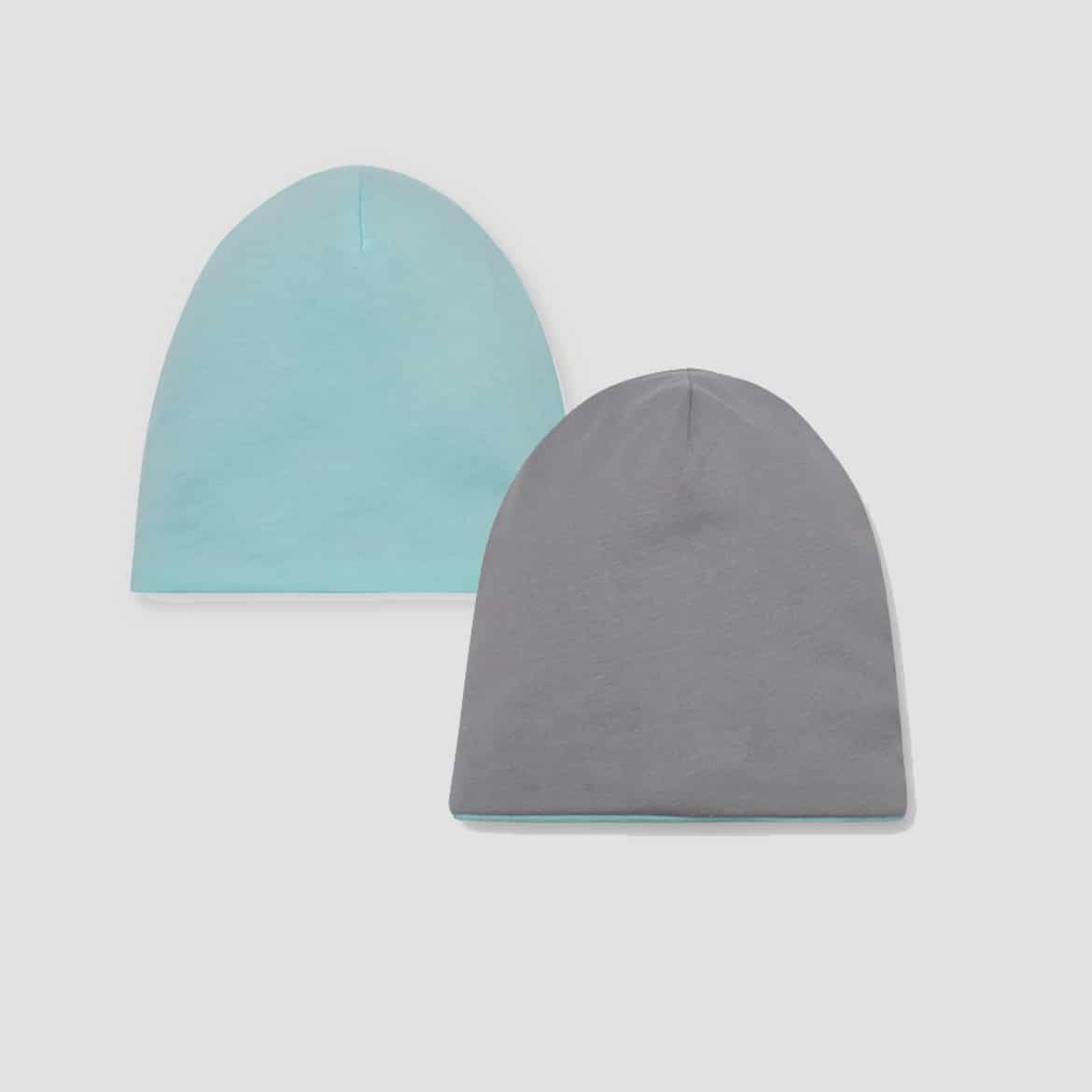 Mint & Grey - Baby Reversible Beanie