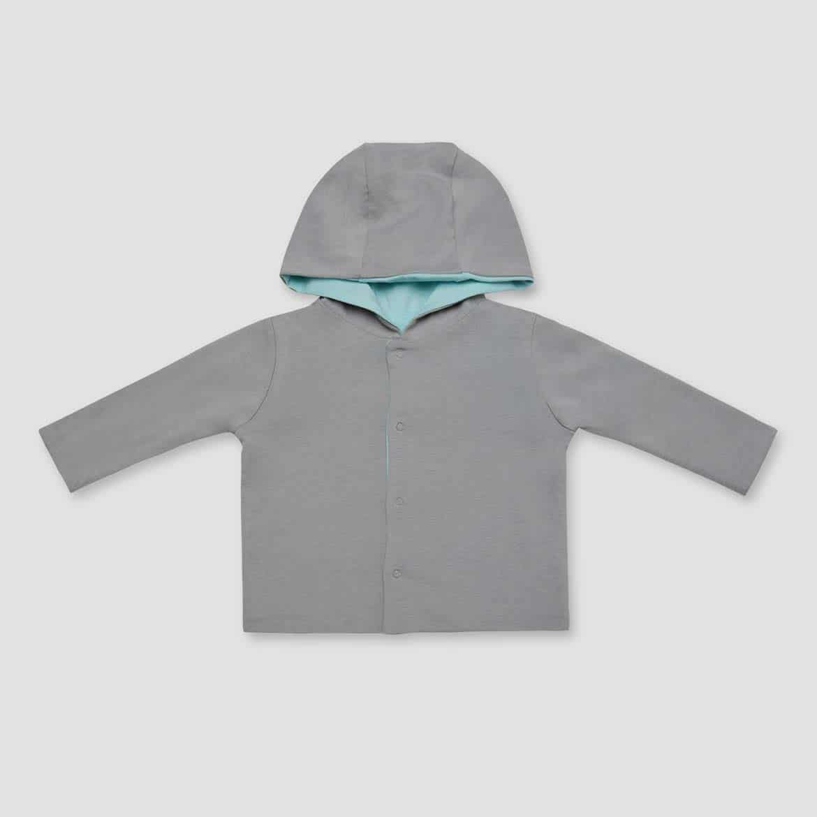 Soft Gray & Mint -  Baby Snap Reversible Hoodie