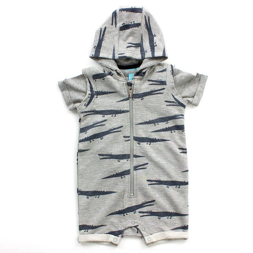 alligator french terry zip romper