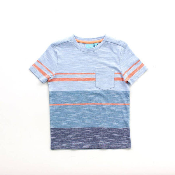 yarn dyed striped tee with pocket