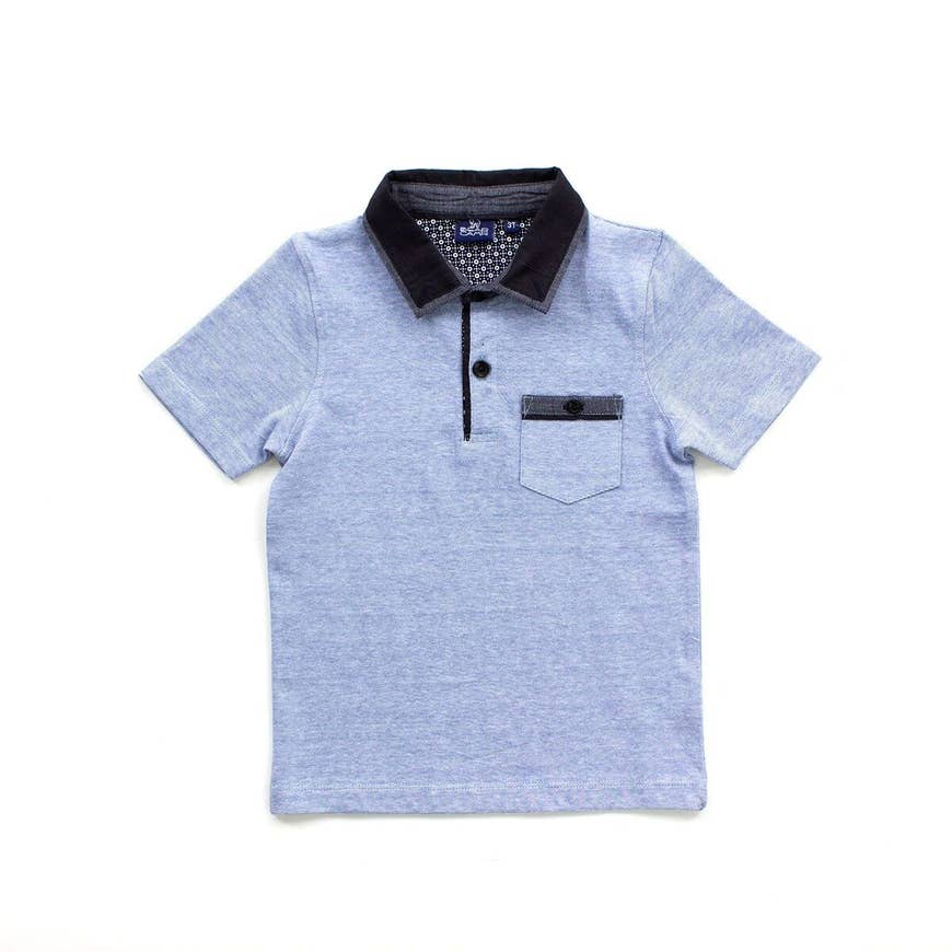 blue polo with contrast collar