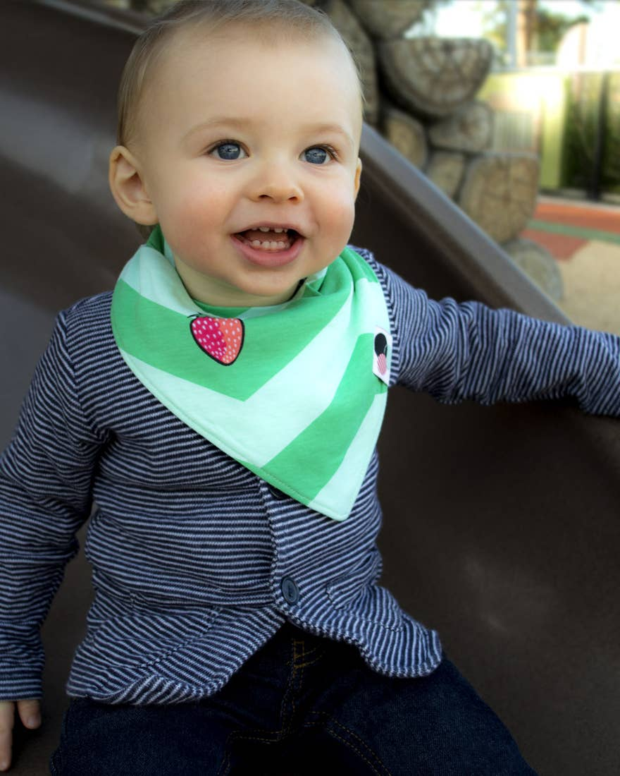 strawberry chevron bandana bib