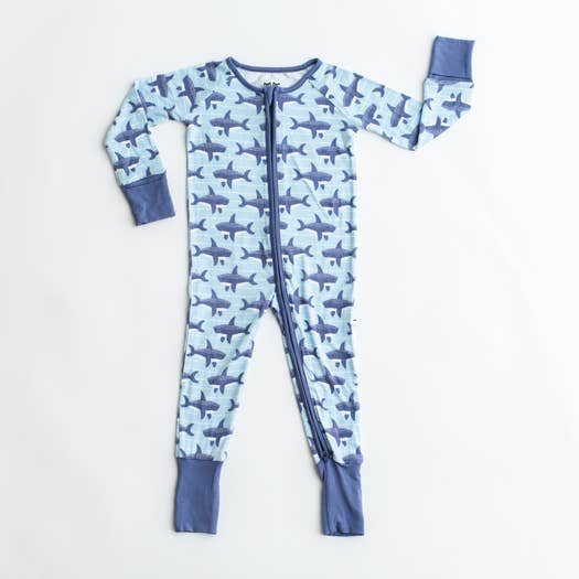 sharks bamboo zip romper/sleeper