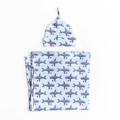 Sharks Bamboo Swaddle & Knotted Hat Gift Set