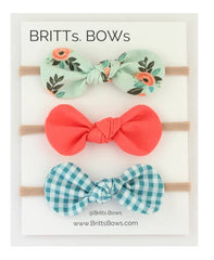 Mint Floral, Coral, Teal Gingham Headband Set of 3