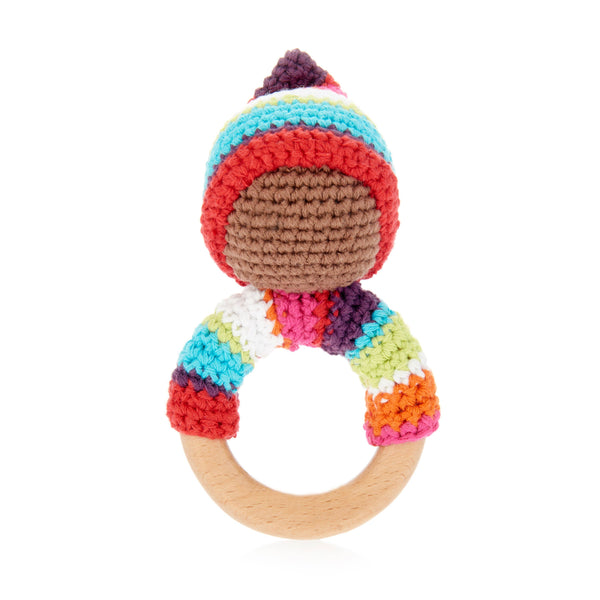 Multi Pixie Wooden Teether Ring Rattle