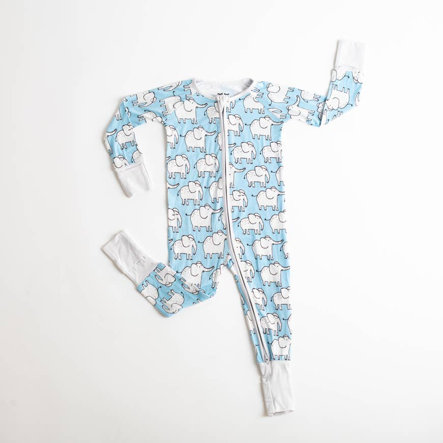 elephants bamboo zip romper/sleeper