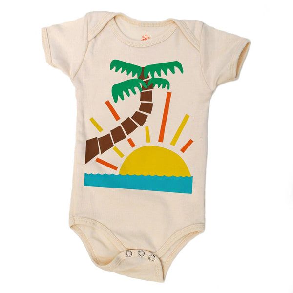 palm tree organic bodysuit