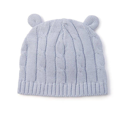 pastel blue cable knit hat with ears
