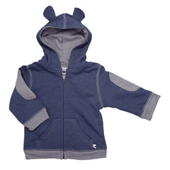 Basic Bunny Ears Fleece Hoodie- indigo