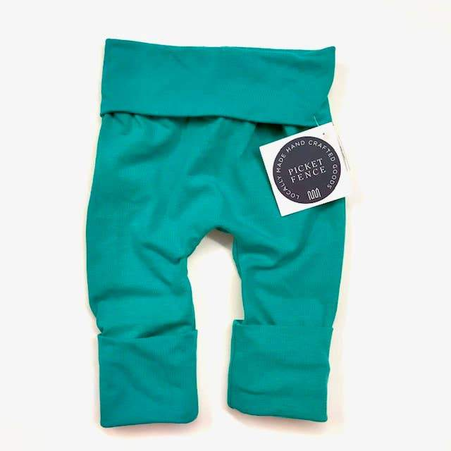 """Grow with Me"" pants- 3M to 12M, 12M to 3T- Jade"