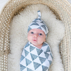 Triangles Bamboo Swaddle & Knotted Hat Gift Set