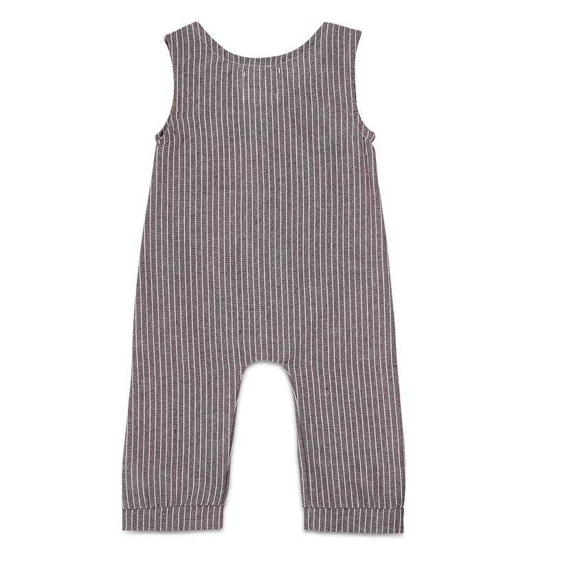 grey striped linen long romper