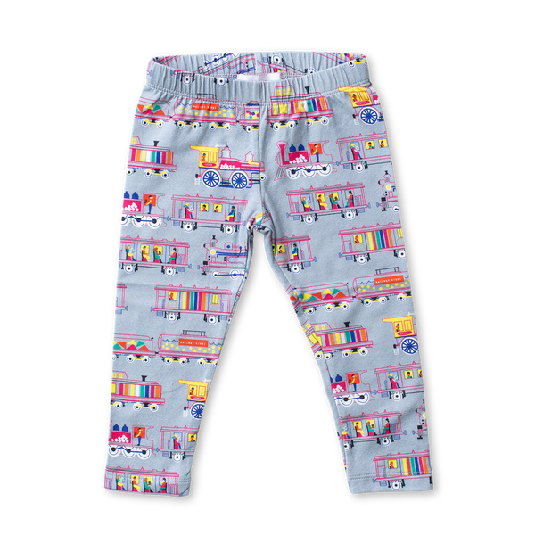 Cotton Printed Leggings - Locomotives