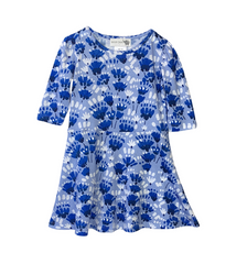 Cornflower Blue TwirlyFloral Dress- last size! 2T