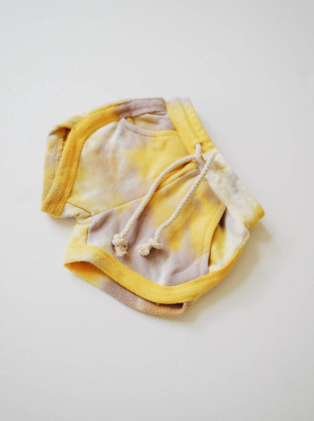 Tie Dye Track Shorts - Gold + Lavender