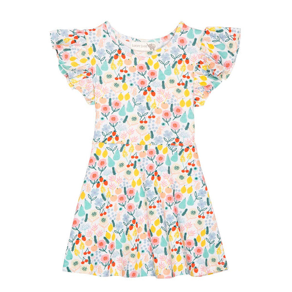Floral Fruit Flutter Dress