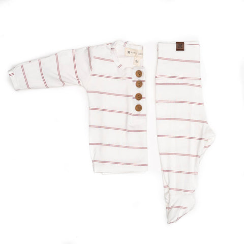 Henley top + bottom set - Rose Stripe